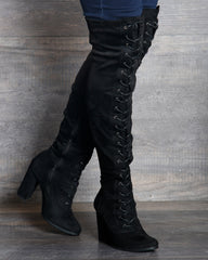 VIM VIXEN Myra Lace Up Over The Knee Boot - Black - ShopVimVixen.com