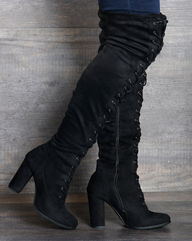 Myra Lace Up Over The Knee Boot - Black
