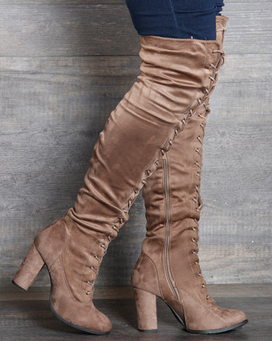 Myra Lace Up Over The Knee Boot - Taupe