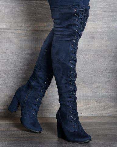 Myra Lace Up Over The Knee Boot - Navy