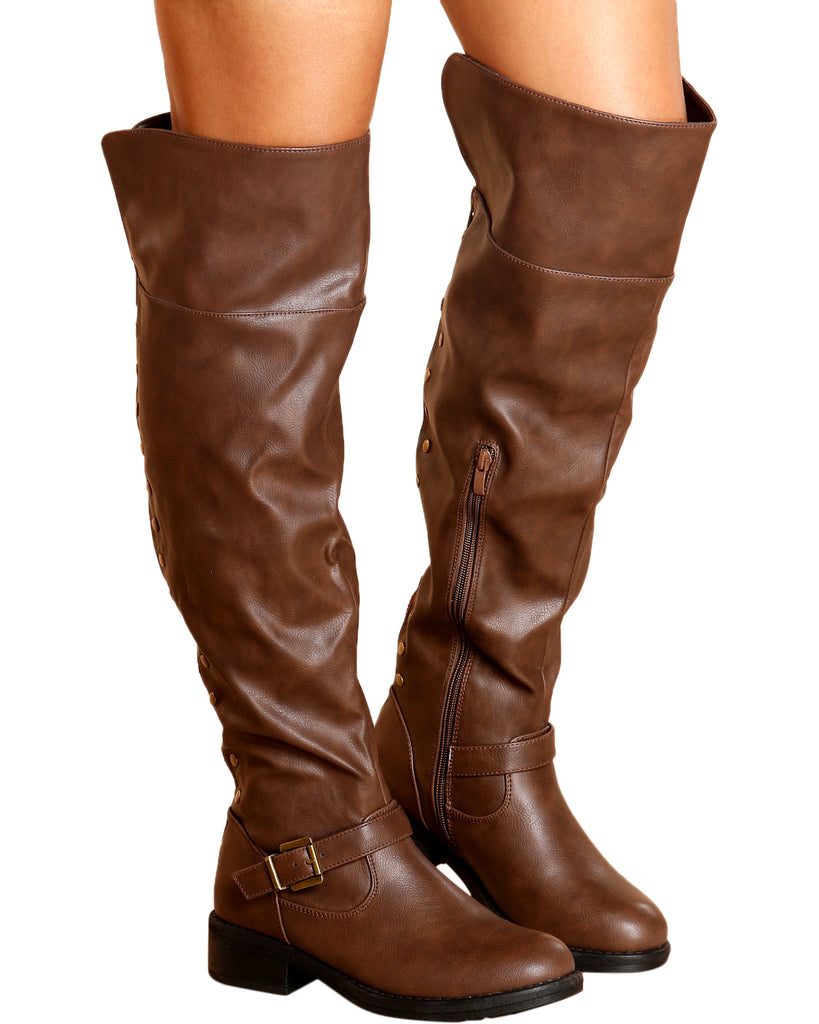 VIM VIXEN Megan Studded Knee High Boot - Brown - ShopVimVixen.com