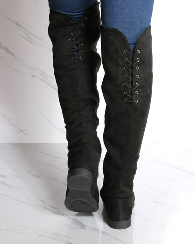 Mary Over The Knee Suede Boots - Black