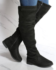 Mary Over The Knee Suede Boot - Black