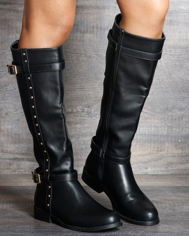 Regina Studded Buckle Boot - Black
