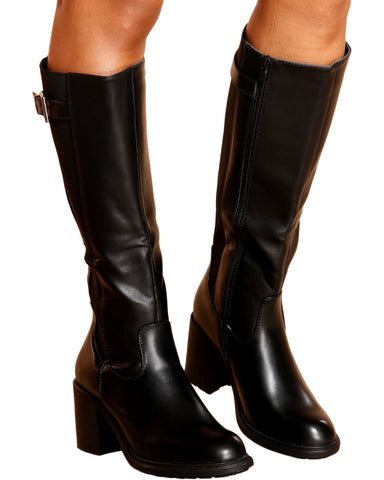 Adel Under The Knee Riding Boot - Black