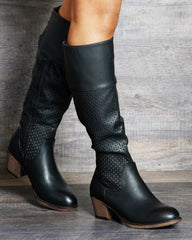VIM VIXEN Zoe Perforated Riding Boot - Black - ShopVimVixen.com