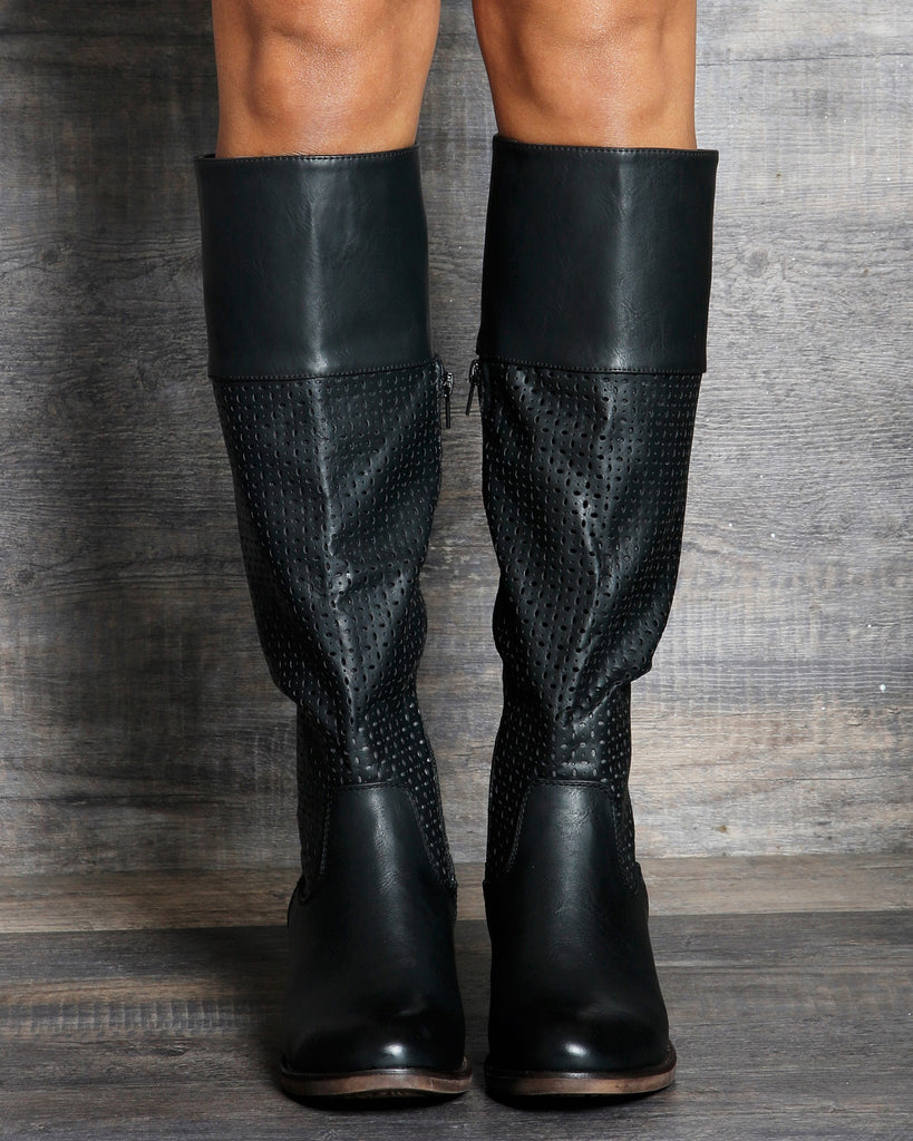 Zoe Perforated Riding Boot