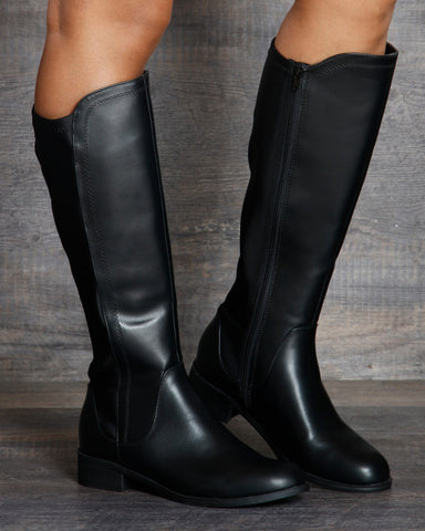 Isabella Knee High Riding Boot - Black