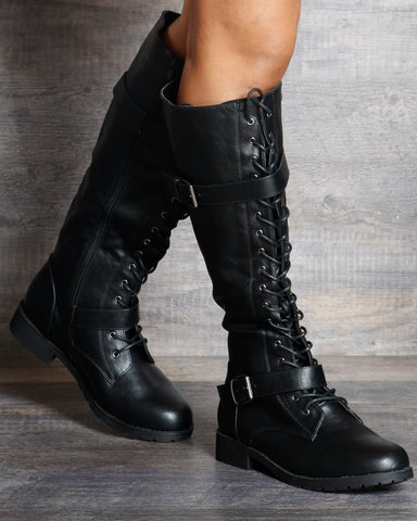 Rylee Lace Up Riding Boot - Black