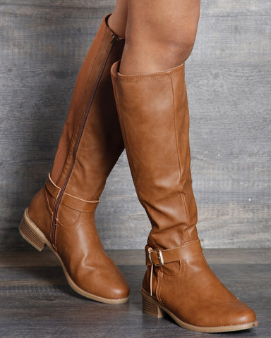 Olivia Gold Buckle Knee High Boots