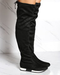 VIM VIXEN Over The Knee Sneaker Boot - Black - ShopVimVixen.com