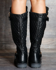 VIM VIXEN Abby Quilted Double Zipper Boot - Black - ShopVimVixen.com
