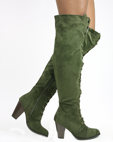 CAMILA Lace Up Over The Knee Boot