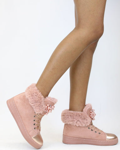 Genesis Ribbon Lace Up Fur Cold Weather Boots