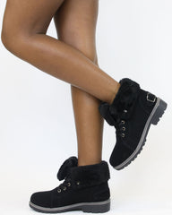 VIM VIXEN Daine Fur Lining Construction Boot - ShopVimVixen.com