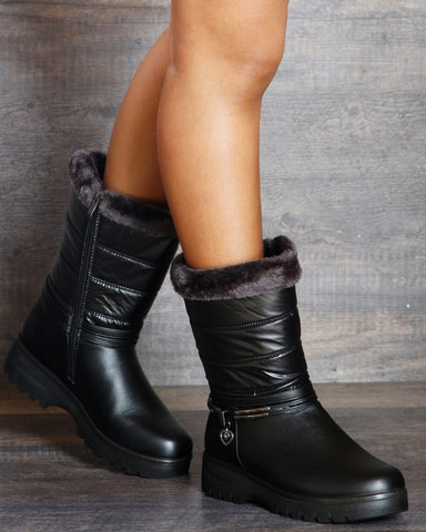 Gaberiella Heart Buckle Boot - Black