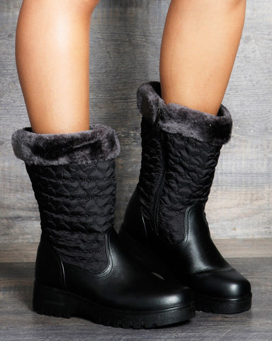 Peyton Hearts Quilted Boot - Black