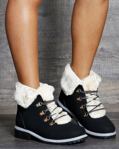 Alexa Fur Lining Construction Boot