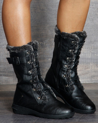 Aliya Side Buckle Winter Boot - Black