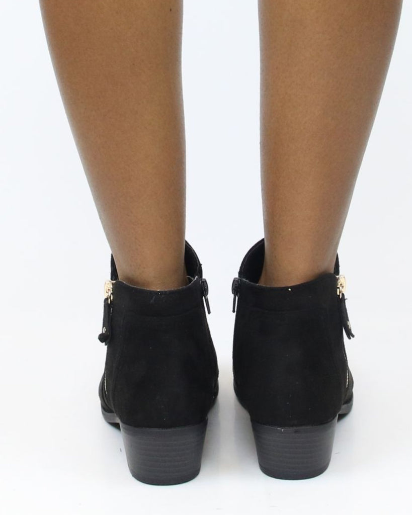 VIM VIXEN Lily Super Low Zipper Bootie - Black - ShopVimVixen.com