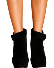 VIM VIXEN Nickiee Side Gold Zipper Heel Ankle Booties - Black - ShopVimVixen.com