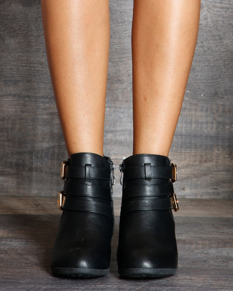 VIM VIXEN Hadi 2 Buckle Ankle High Bootie - Black - ShopVimVixen.com