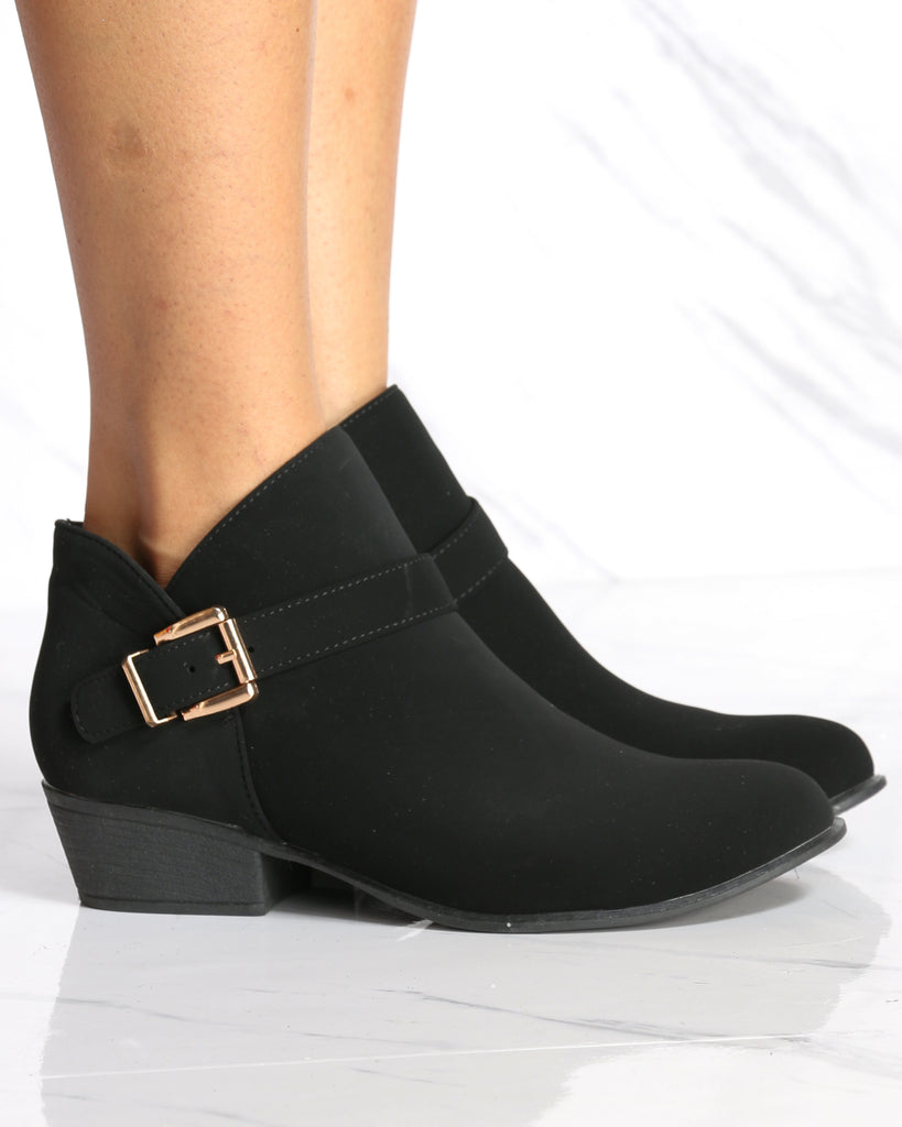 Grace Buckle Ankle Bootie - Black