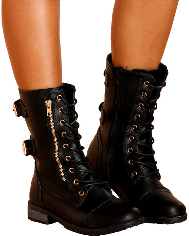 MARTHA Gold Buckle Military Boot - Black