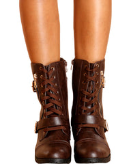 VIM VIXEN Lisa Military Bootie - Brown - ShopVimVixen.com