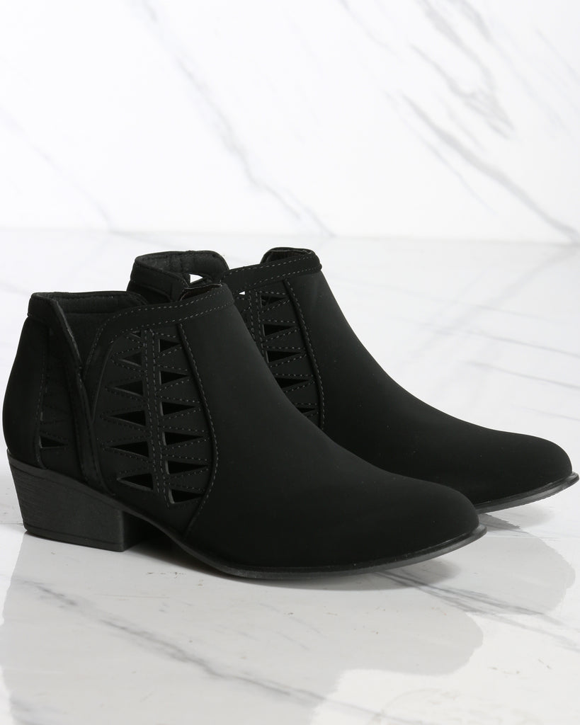Franny Cut Out Ankle Bootie - Black