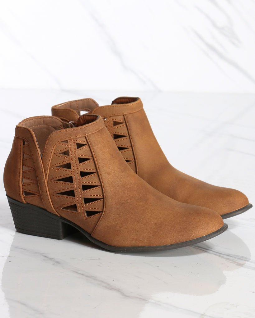Franny Cut Out Ankle Bootie - Tan