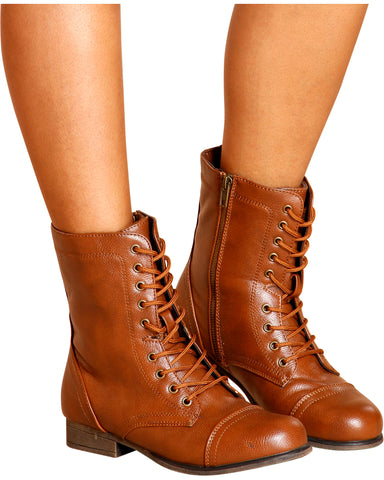 Diem Military Bootie - Chestnut
