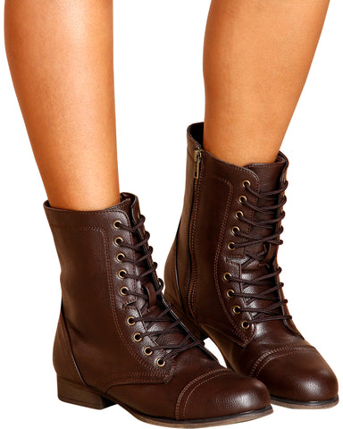Diem Military Bootie - Brown