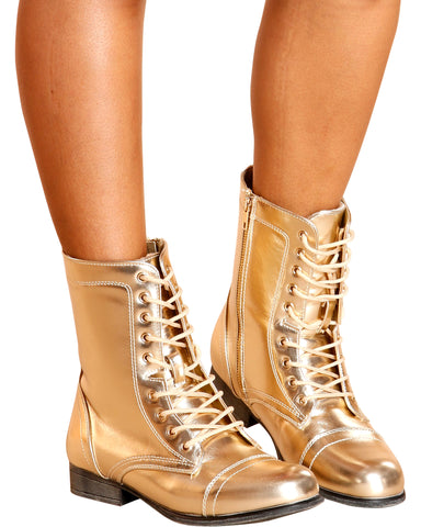Diem Military Bootie - Gold