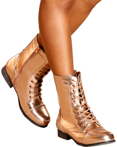 Diem Military Bootie - Rose Gold