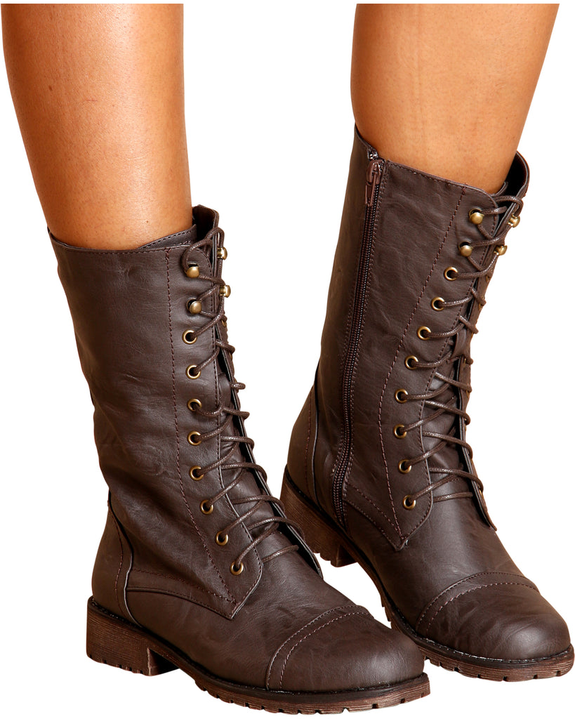 VIM VIXEN Libby Plain Military Bootie - Brown - ShopVimVixen.com