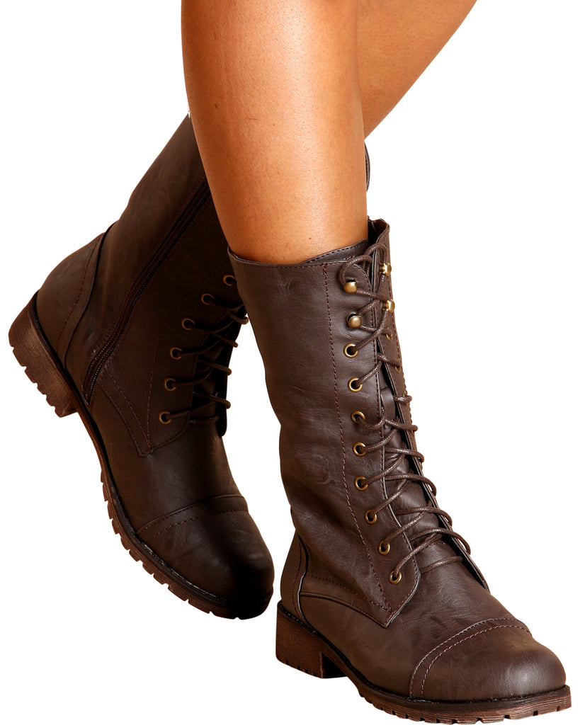 Libby Plain Military Bootie - Brown