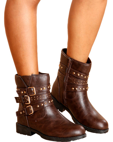 Lisa Studded Moto Booties