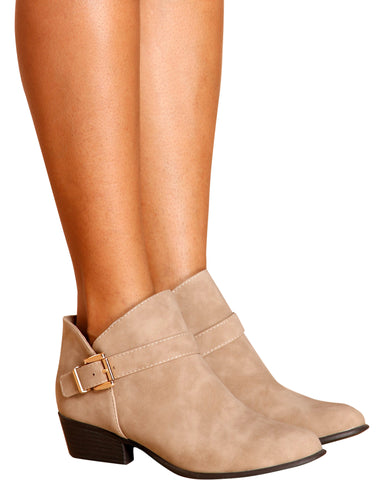MILEY Buckle Ankle Bootie - Tan