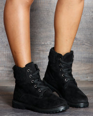 Daisy Fur Lining Lace Up Booties