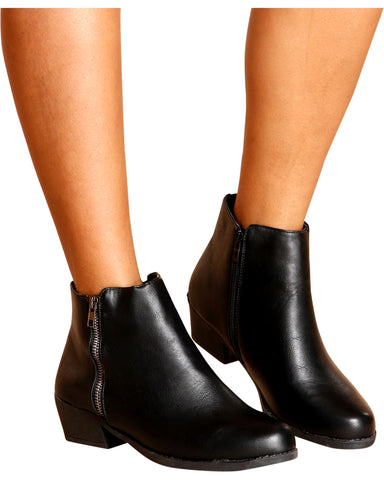 Lora Double Zipper Ankle Booties