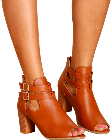 MAYA 2 Buckle Chunky Heel Booties (Available in 2 Colors)
