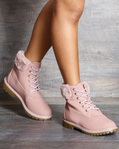 Emily Fur Top Lace Up Booties
