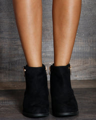 Naomi Gold Double Zipper Ankle Bootie - Black