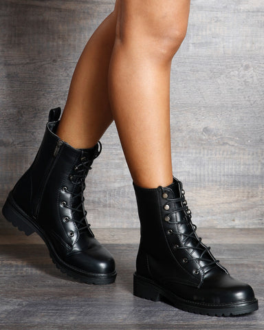 Abigail Military Ankle Boot - Black