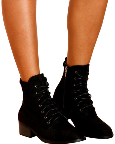 VERONICA Lace Up Military Boot - Black