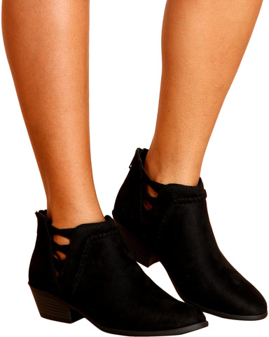 Bea Laser Cut Ankle Bootie - Black