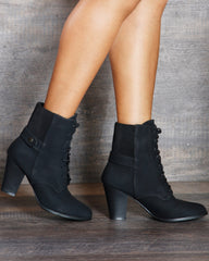 Annie Lace Up Heel Ankle Bootie - Black