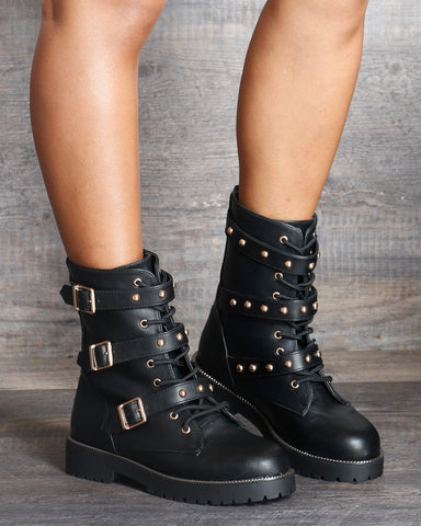 Regina Three Studded Biker Booties