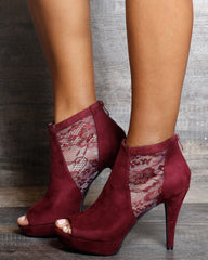 Sara High Heel Lace Up Booties